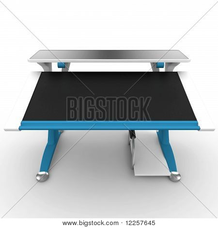 3D Office Desk Empty