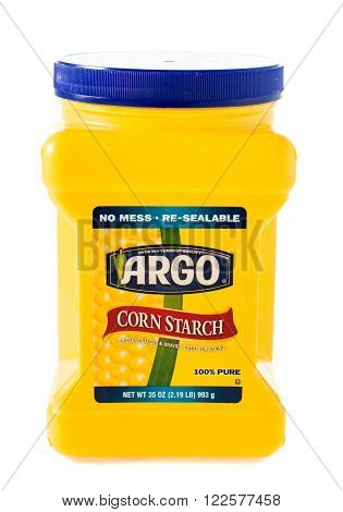Winneconne, WI - 5 February 2015: Container of Argo Corn Starch which was created in 1892.