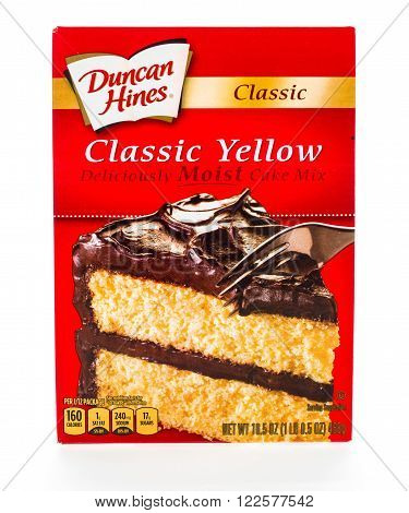 Winneconne WI - 8 February 2015: Box of Duncan Hines Classic Yellow cake mix.