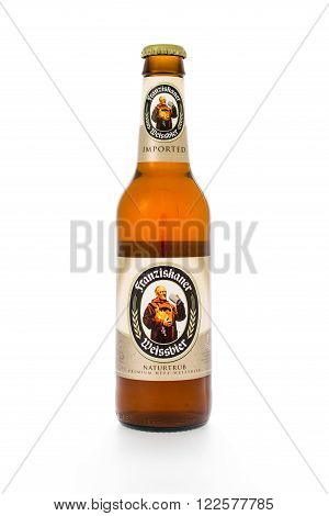 Winneconne WI - 3 February 2015: Fraziskaner beer is brewed in Germany and owned by the Anheuser-Busch InBev company.