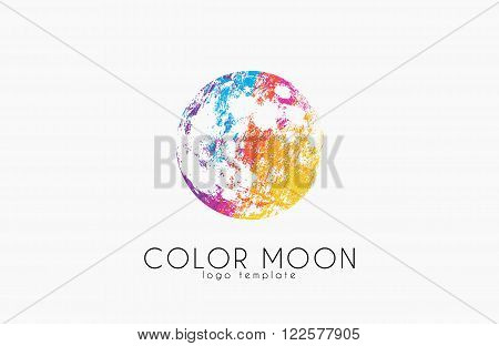 Moon logo design. Color moon. Cosmic logo. Space logo. Creative logo design.