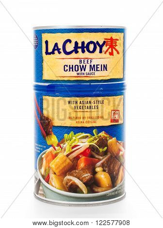 Winneconne, WI - 8 February 2015: Can of LaChoy Beef Chow Mein with Asian-Style Vegetables.