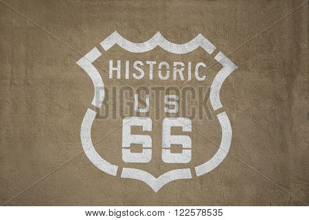 Historic Route US 66 painted on a wall in California