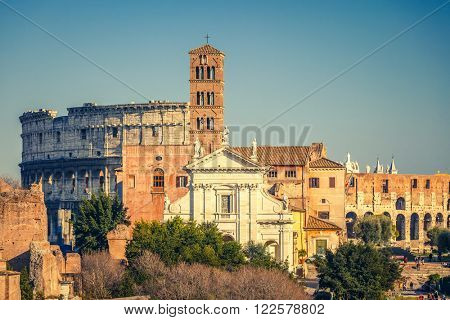 View on forum romanum and colosseum in Rome, Italy