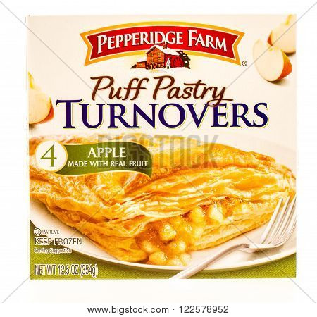 Winneconne, WI -19 Sept 2015: Box of puff pastry turnovers in apple flavor made by Pepperidge farm.