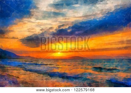 A digital painting of the ocean at sunset