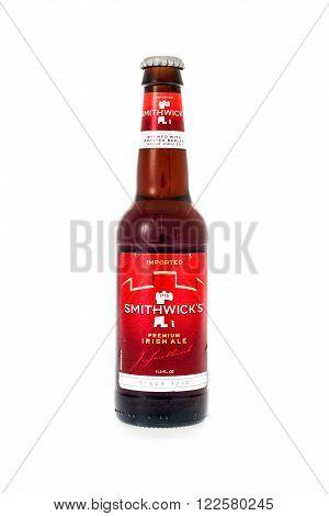 Winneconne WI - 3 February 2015: Smithwick's Preimim Irish Ale beer was first brewed in 1710 in Ireland.