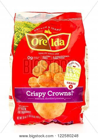 Winneconne, WI - 29 August 2015: Bag of Ore Ida crispy crowns, made from 100% potatoes.