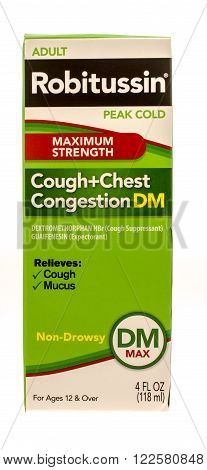 Winneconne WI -1 Oct 2015: Box of Roitussin cough and chest congestion medicine