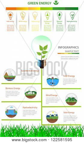 Renewable energy types. Power plant icons vector set. Renewable alternative solar wind hydro biofuel geothermal tidal energy . Useful for layout banner web design statistic brochure template infographics and presentations. Green energy/Renewable energy