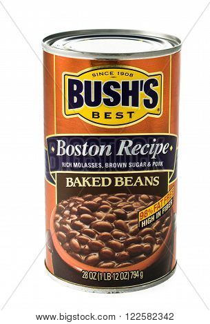 Winneconne, WI - 5 February 2015: Bush's Boston Recipe can of baked beans and have been in the business since 1908.