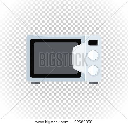 Household appliances microwave. Electronic device microwave in flat style. Microwave oven icon, microwave food. Vector illustration