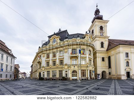 SIBIU, ROMANIA - MARCH 2016: Sibiu city streets in Romania on 8th of March in Sibiu, Romania