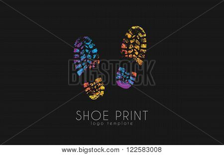 Shoe print logo. Color shoe print. Creative logo.