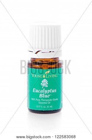 Winneconne, WI - 19 February 2015: Bottle of Young Living Eucalyptus Blue essential oil supplement.