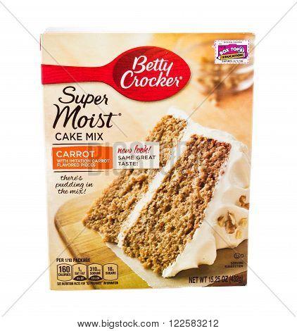 Winneconne WI - 5 February 2015: Box of Betty Crocker Carrot Cake Mix.