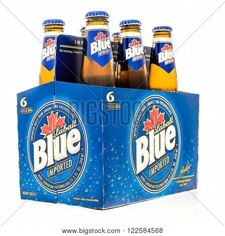 Winneconne WI -24 Oct 2015: Six pack of Labatt Blue beer from Canada.