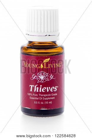 Winneconne, WI - 19 February 2015: Bottle of Young Living Thieves essential oil supplement.