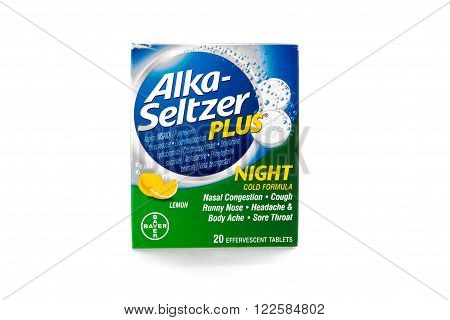 Winneconne, WI - 9 February 2015: Package of Alka-Seltzer Plus night time cold formula.