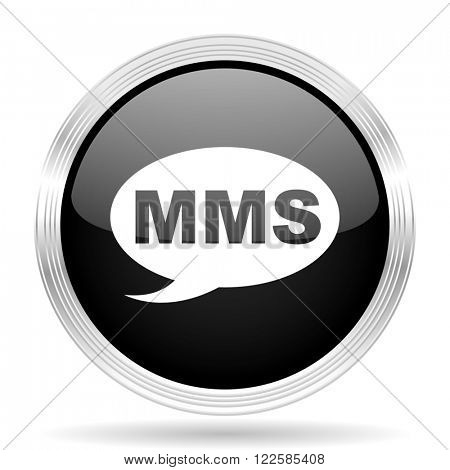 mms black metallic modern web design glossy circle icon