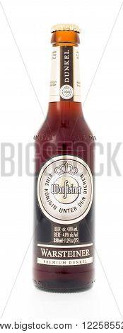 Winneconne WI - 3 February 2015: Warsteiner Premium Dunkel beer was first brewed in 1783.