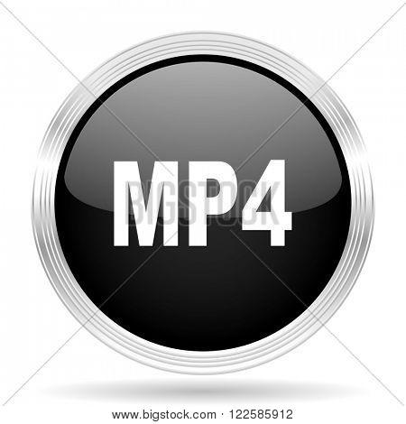 mp4 black metallic modern web design glossy circle icon
