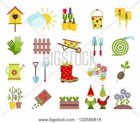 Garden tools and other elements of gardening flat icons set.Garden sculpture gnomes,  nesting box, lawn from flowers and other elements of garden decoration isolated on white background.Cartoon flat icons.