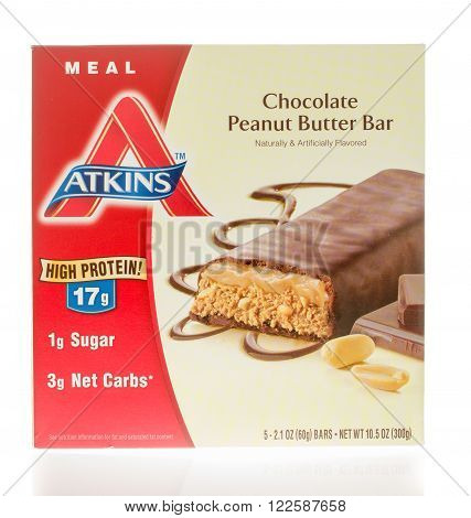 Winneconne, WI - 26 Nov 2015: Box of Atkins chocolate peanut butter bar that is made to be a meal.
