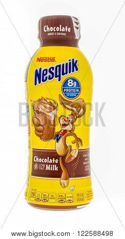 Winneconne, WI -4 Nov 2015: Bottle of Nestle Nesquik chocolate milk.