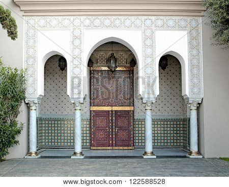 Ornamented door, Hassan II Mosque, Casablanca, Morocco