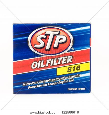 Winneconne WI - 19 August 2015: Box of a STP oil filter that is changed when changing oil.