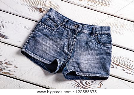 Woman's new jeans shorts. New jeans shorts on showcase. Vintage jeans shorts for ladies. Short shorts for women.
