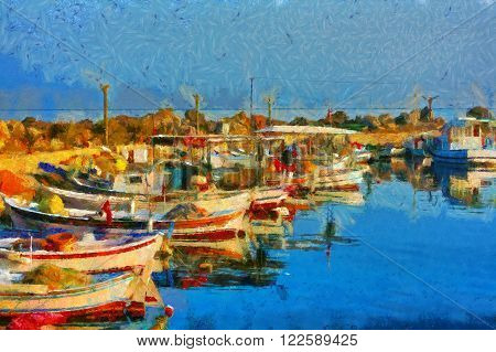 A digital painting of Small fishing boats in harbor in the style of Monet