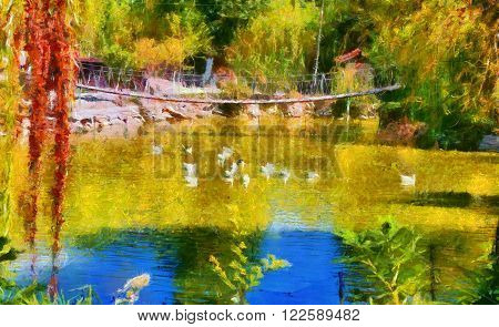 Duck pond and rope bridge digitally painted in Monet style