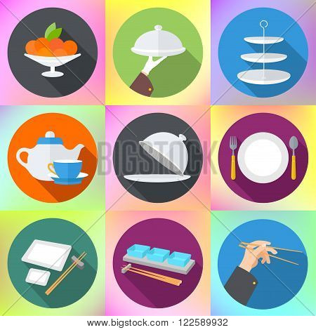 Set flat design icons for restaurant. Kitchen utensils and cookware flat icons set, cooking tools and kitchenware equipment. Cooking kitchen and restaurant flat icons set