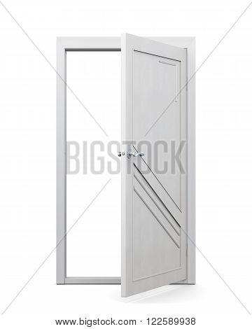 3d image of door on a white background. Open door.