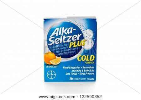 Winneconne, WI - 9 February 2015: Package of Alka-Seltzer Plus cold formula.