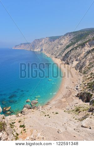 Famous Beach Platia Ammos On Kefalonia Island In Greece