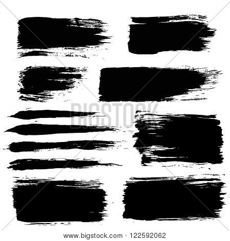 Set of grunge brush strokes. Paintbrush backgrounds set for text. Distress texture, isolated. Vector design elements for banners, labels, badges templates, frames, pattern brushes. Painted backgrounds