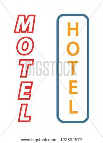 Hotel sign city facade, signboard motel and hotel signature sign and urban motel neon signboard. Neon sign with the word hotel, motel signboard facade vector illustration.