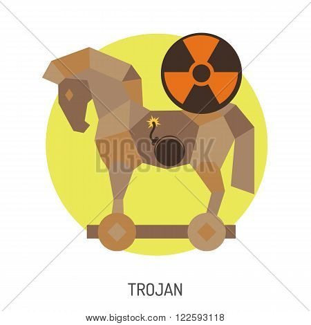 Cyber Crime Concept with Trojan Horse Flat Icon. Vector for Poster, Web Site, Advertising.