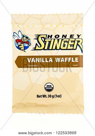 Winneconne, WI - 17 Feb 2016: Package of Honey Stinger in honey waffle flavor.