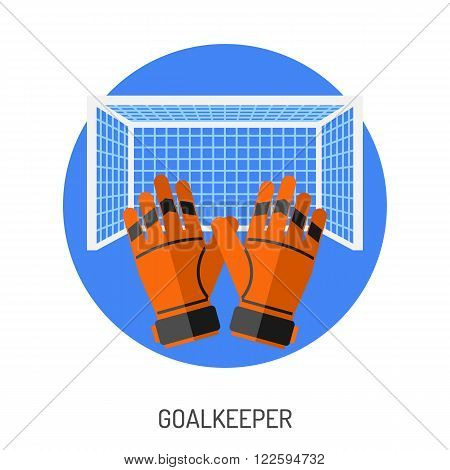 Soccer and Football Flat Icon Set for Flyer, Poster, Web Site like Goal and Goalkeeper Gloves.