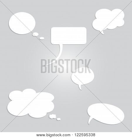 Set of empty white dialog boxes on gray background.