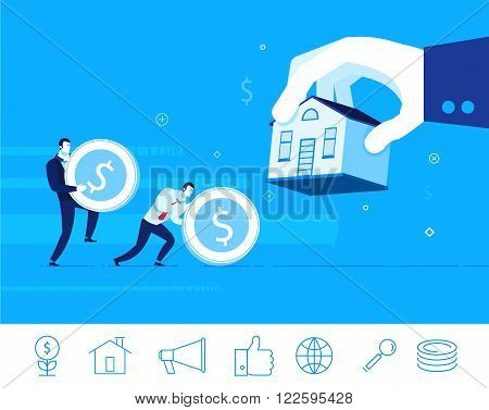 Flat design vector concept illustration. Teamwork. Businessman gives a mortgage for a house. Good investment. Vector clipart. Icons set.