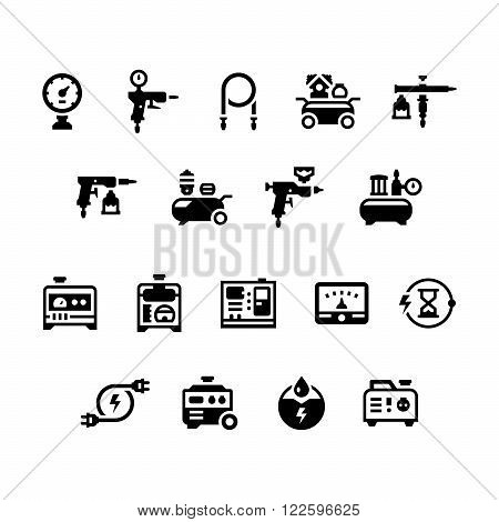 Set icons of electric generator and air compressor isolated on white. Vector illustration