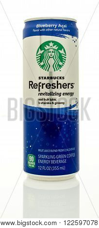 Winneconne WI - 14 Jan 2016: Can of Starbucks Refreshers revitalizing energy drink in blueberry acai flavor.