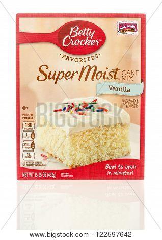 Winneconne WI - 6 Dec 2015: Box of super moist cake mix in vanilla flavor in a new box.