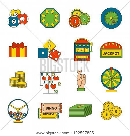 Casino game icons poker gambler symbols and casino blackjack cards gambler money winning icons. Casino icons set with roulette gambler joker slot machine isolated vector icons illustration. Casino