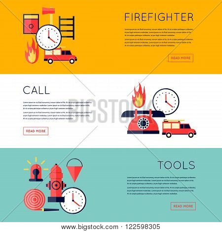 Firefighter, fire, call the fire brigade, fire extinguishing, firefighting tools. Fire truck with alarm signal . Horizontal banners. Flat style vector illustration.
